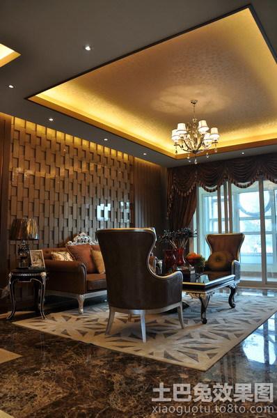 新古典风格客厅方形吊顶效果图