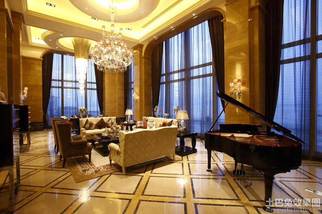欧式别墅客厅水晶灯吊顶装修效果图