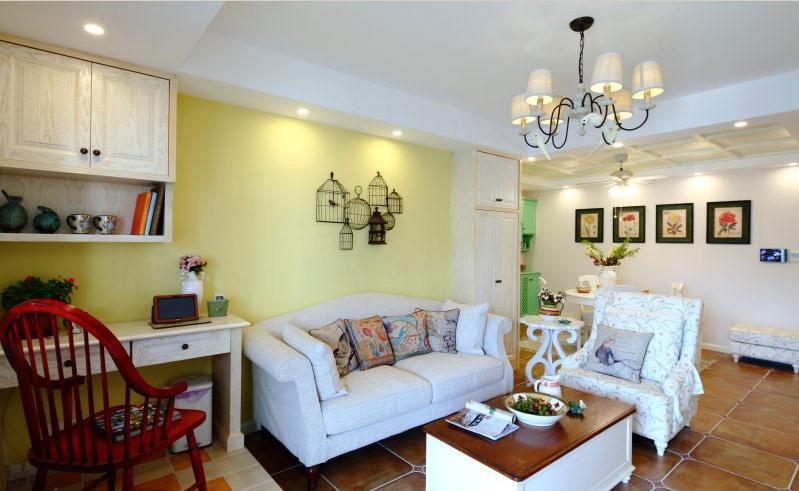 欧式田园风格三居室客厅装修效果图2014图片