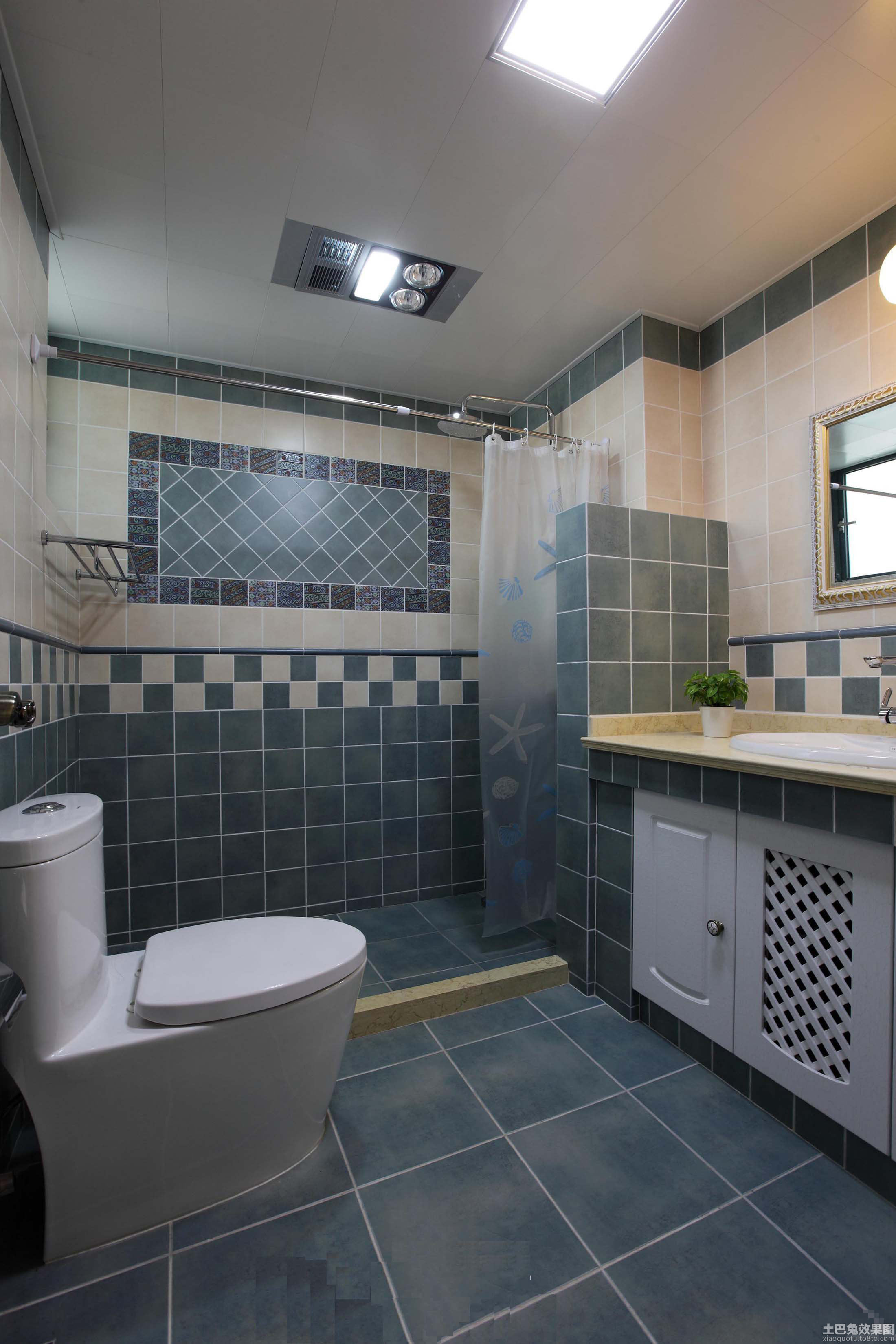 地中海风格卫生间地砖效果图片