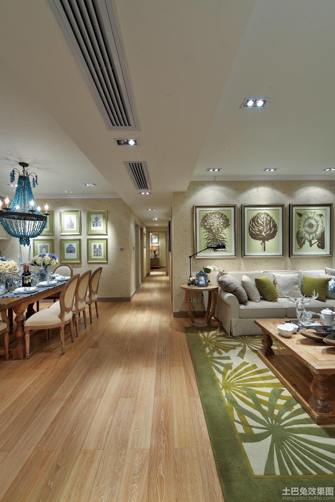 客厅与餐厅过大过道木地板贴图