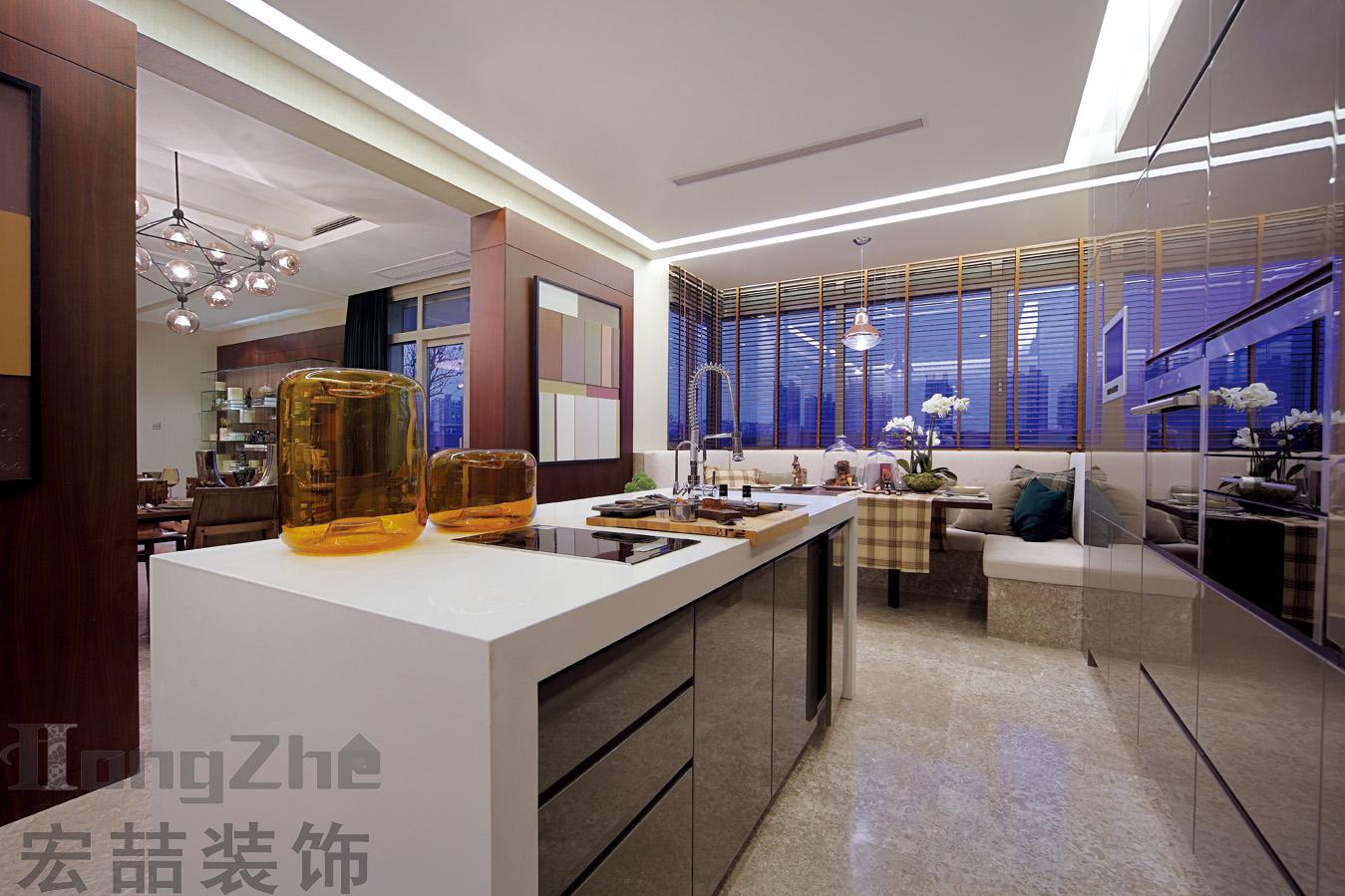 现代简约开放式厨房岛台效果图