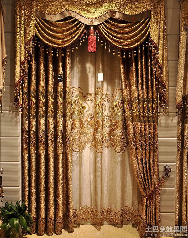 欧式玄关绣花窗帘装修效果图图片