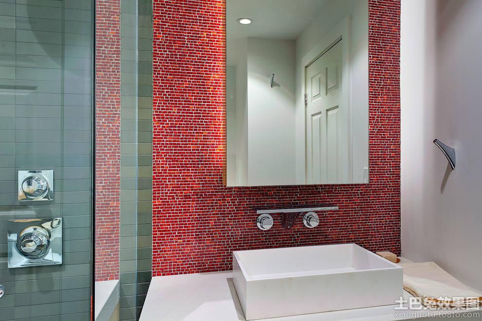 红色玻璃马赛克瓷砖效果图