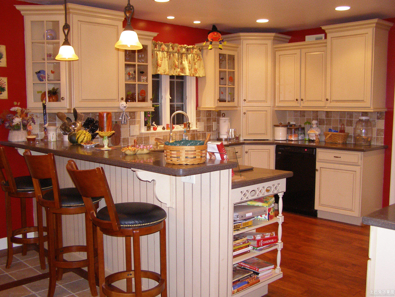 美式风格开放式厨房吧台图片