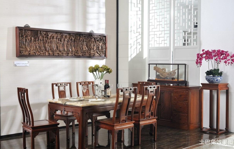 中式实木仿古餐桌图片