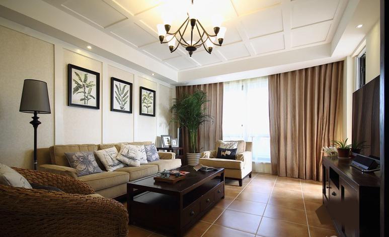 简美式风格客厅装修效果图图片