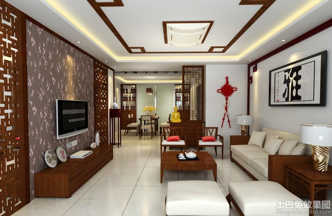 中式电视墙壁纸装修效果图