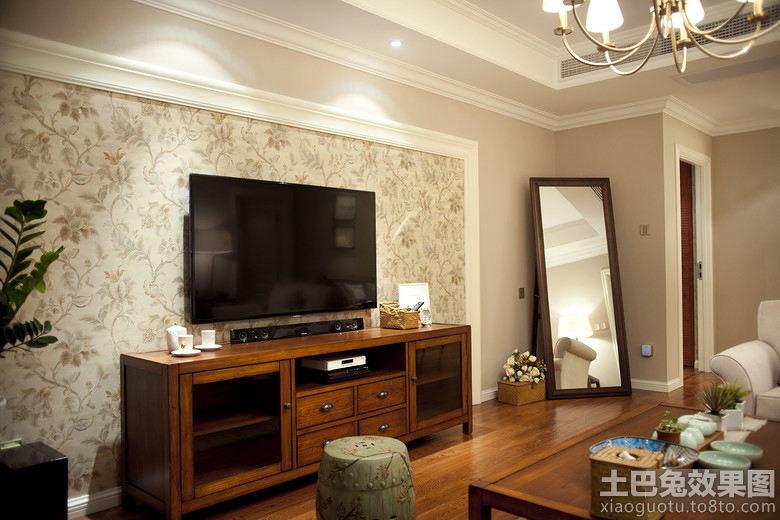 简中式壁纸电视背景墙装修效果图图片