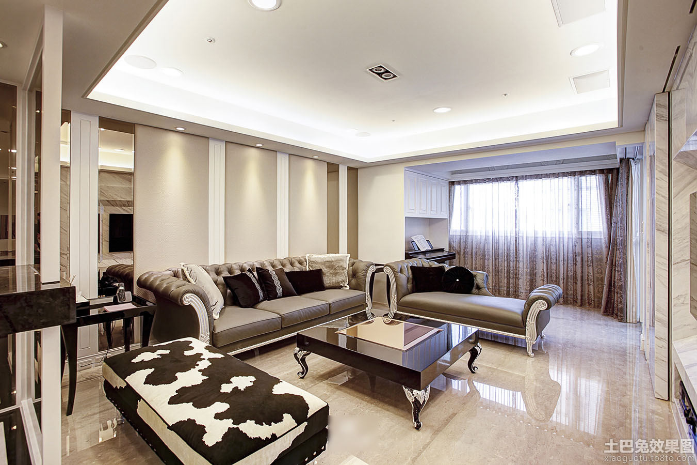 欧式风格客厅地板砖装修效果图
