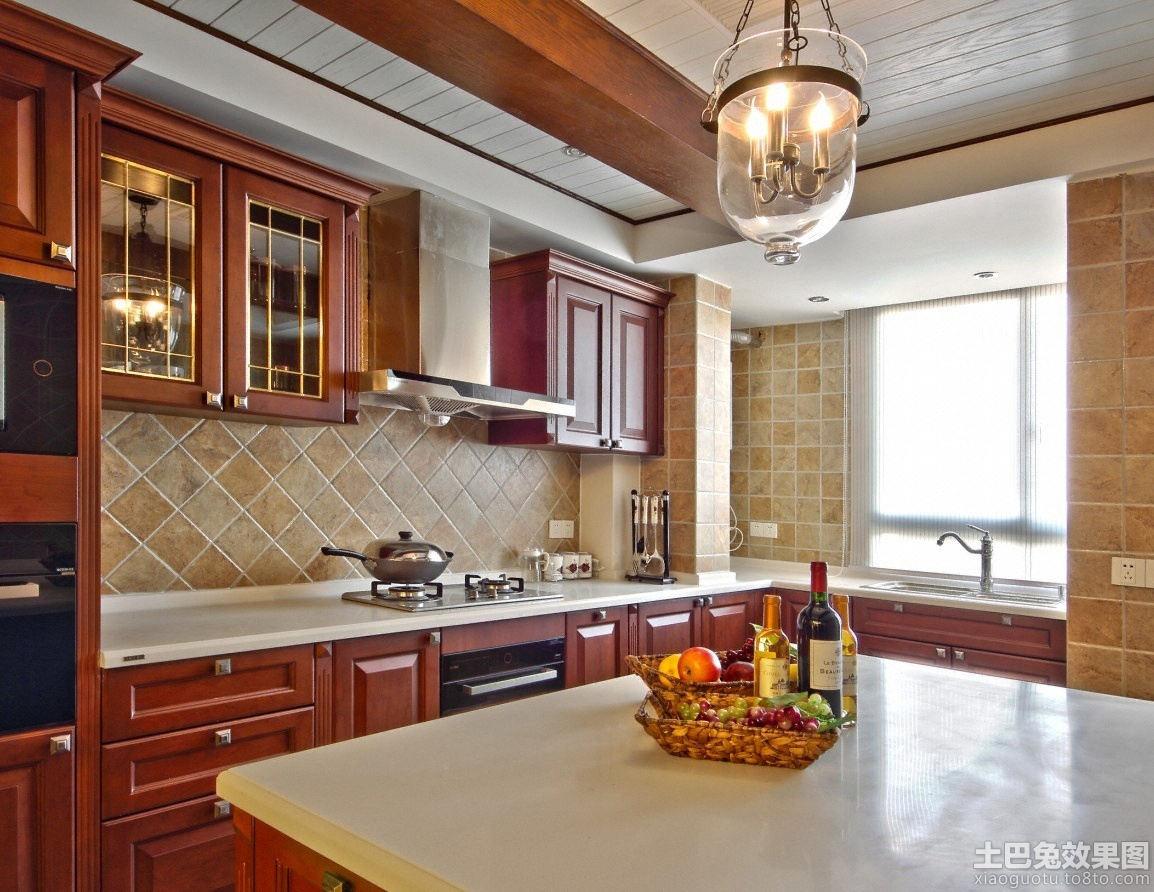 美式风格大理石厨房台面装修效果图图片