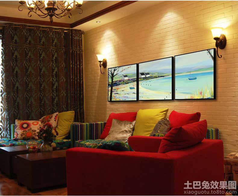 现代简约家居手绘墙画图片