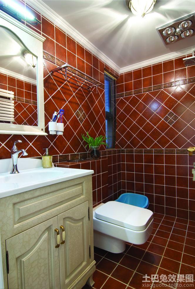 美式田园卫生间瓷砖效果图图片