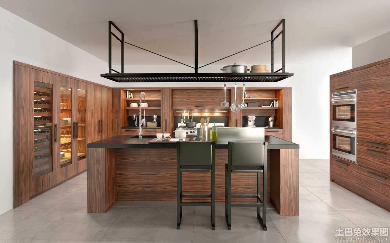 现代厨房实木橱柜效果图片