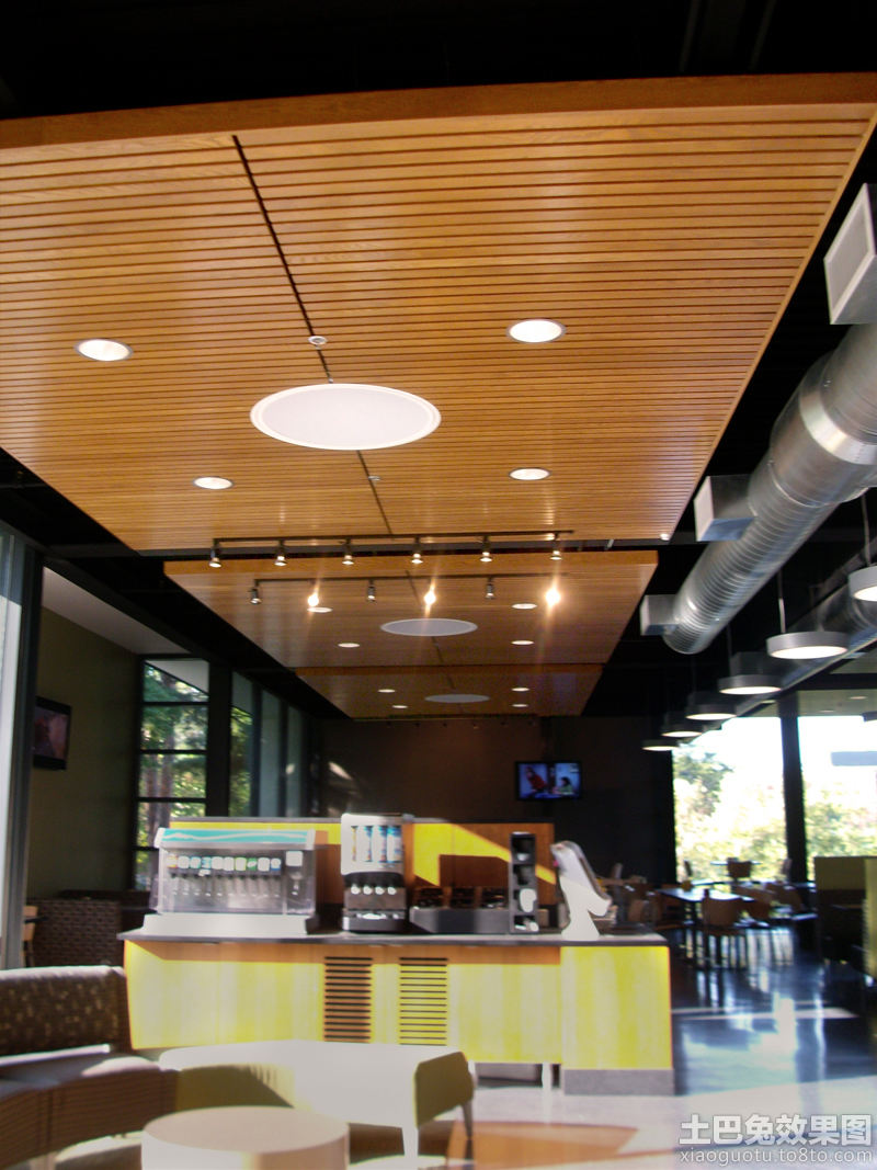 餐馆木格栅吊顶图片