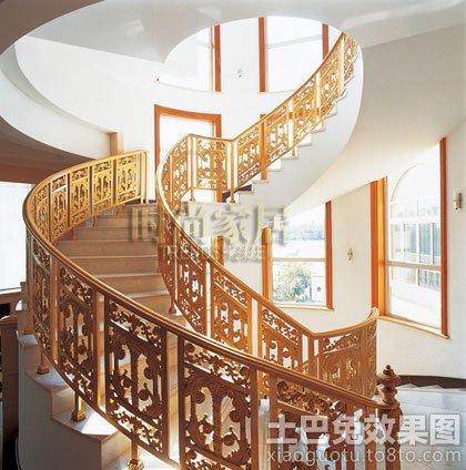 中式风格铁艺旋转楼梯效果图