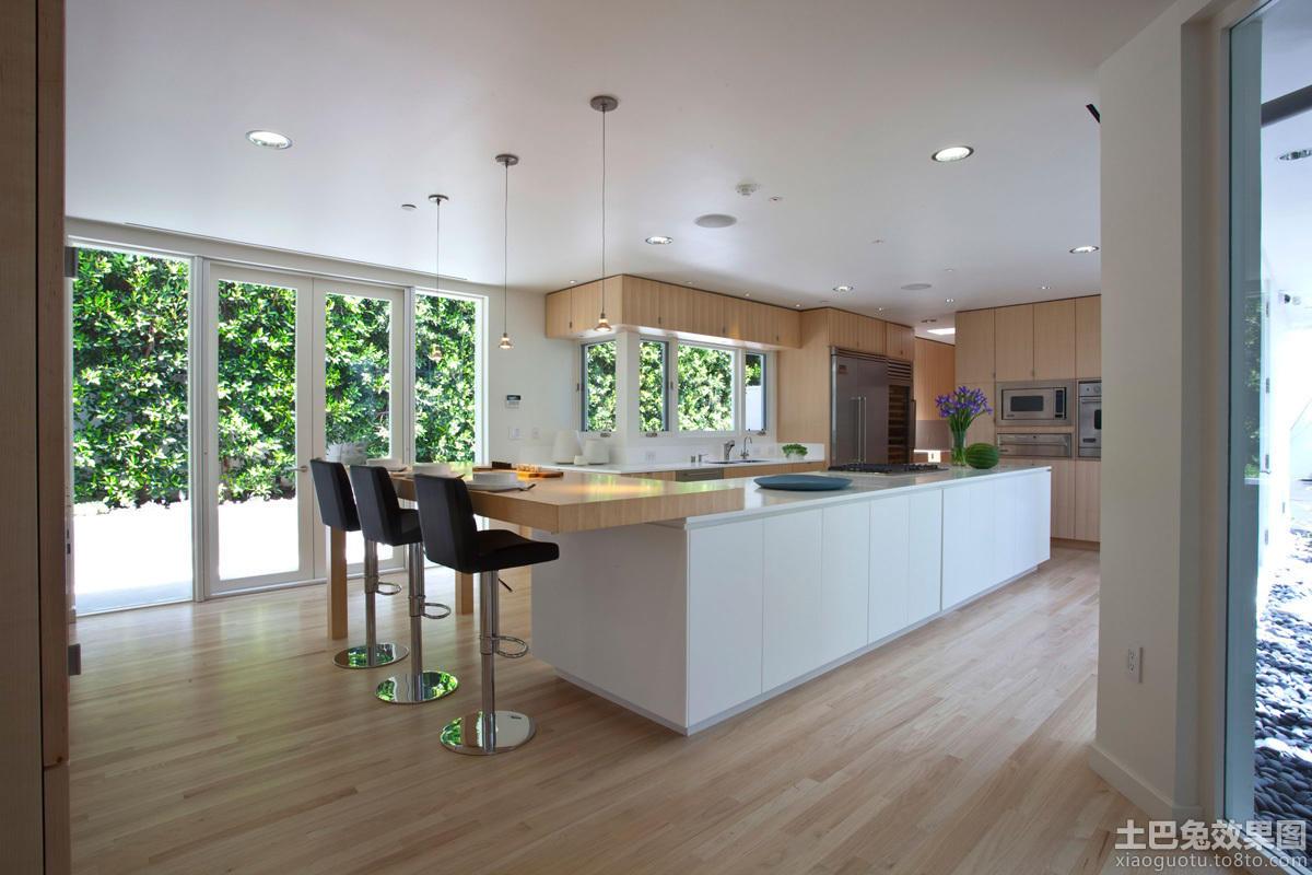 简欧风格白色别墅大厨房设计图片
