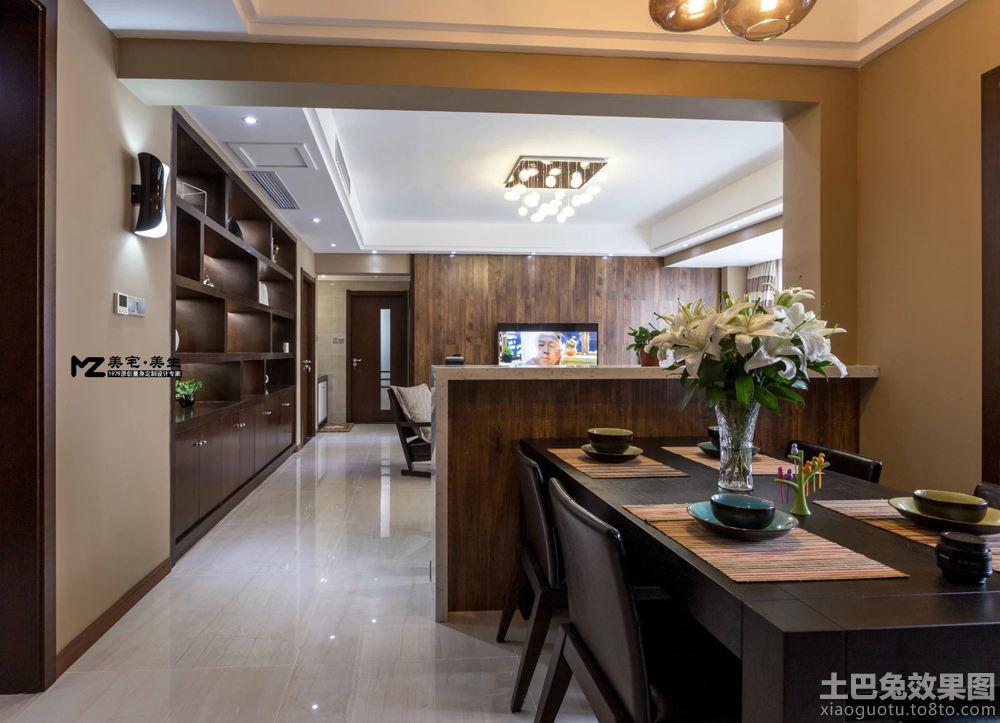 美式风格客厅与餐厅隔断效果图
