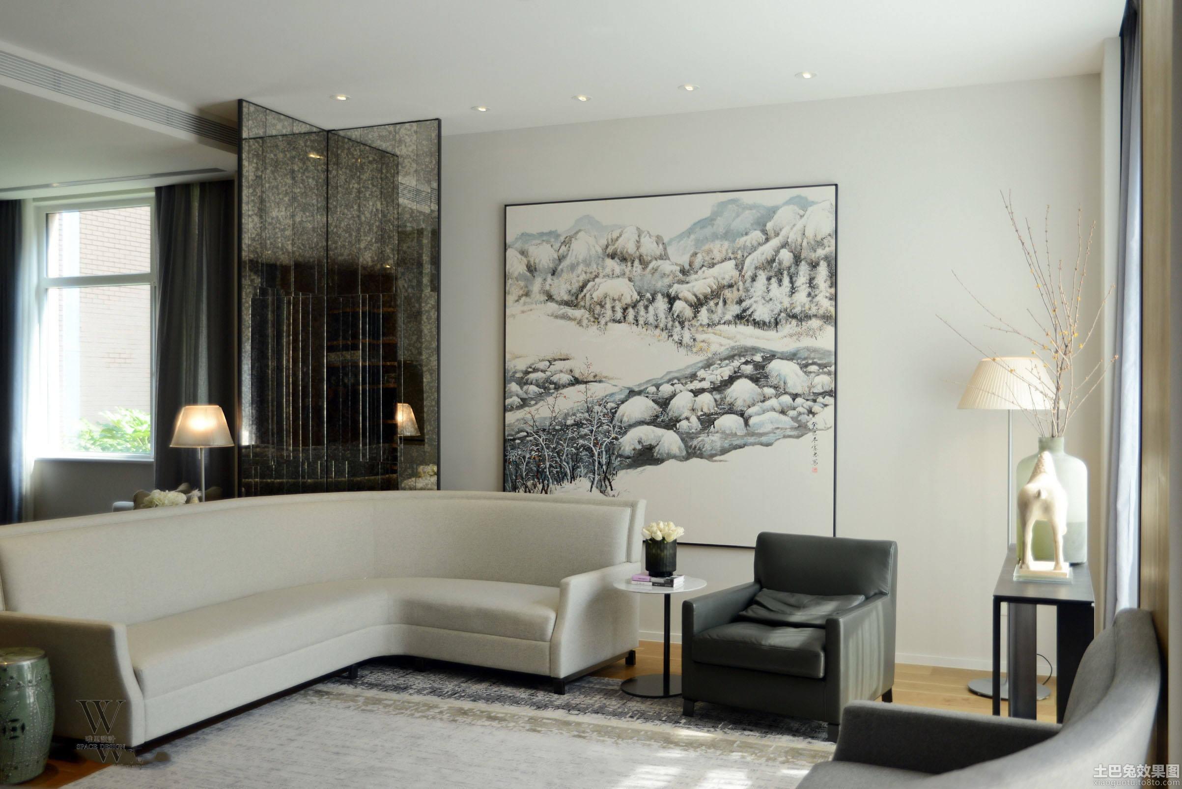 简约一居室客厅黑白装饰画效果图