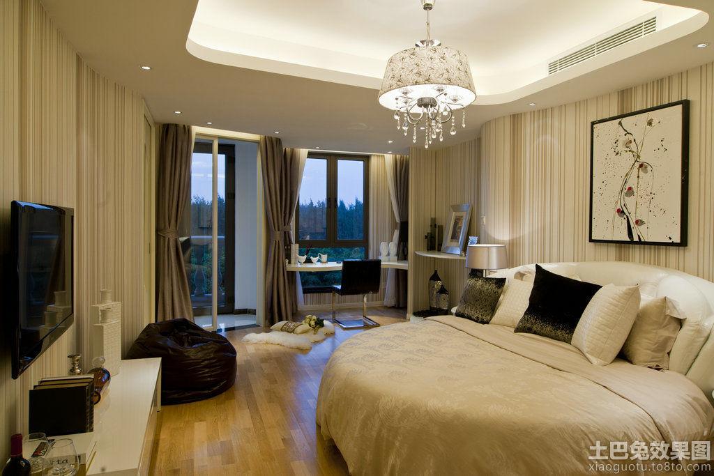 现代卧室石膏板吊顶装修效果图