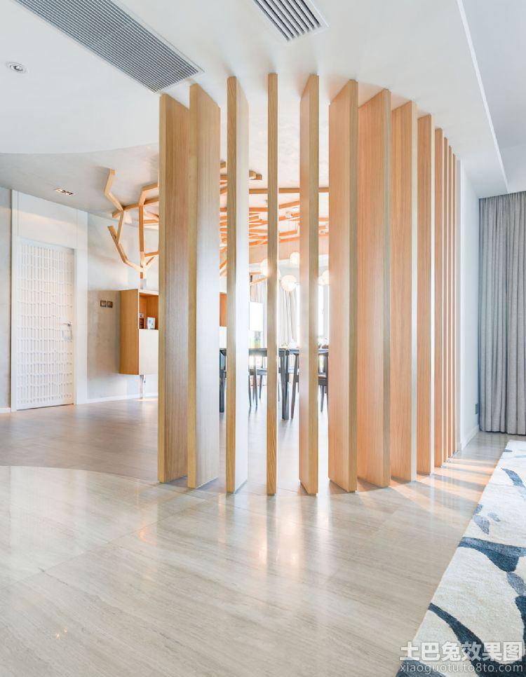 日式风格室内木质隔断效果图