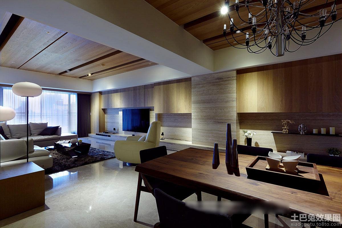 日式家装客厅与餐厅木吊顶装修效果图