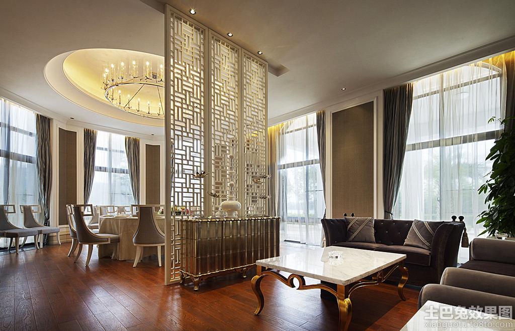 中式别墅客厅隔断装修效果图片