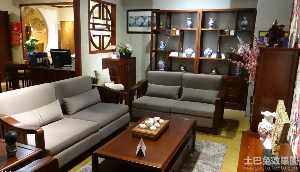 中式布艺木沙发图片