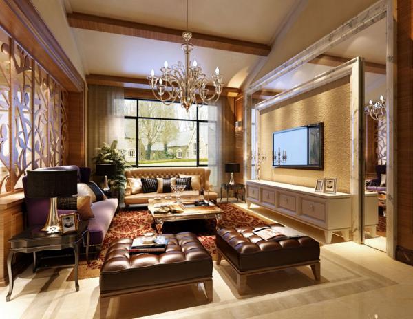 凹凸暖色花纹客厅装修图片