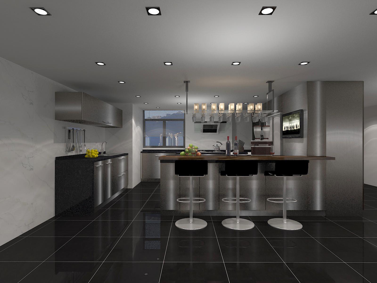 激情黑白灰 金属质感现代简约厨房