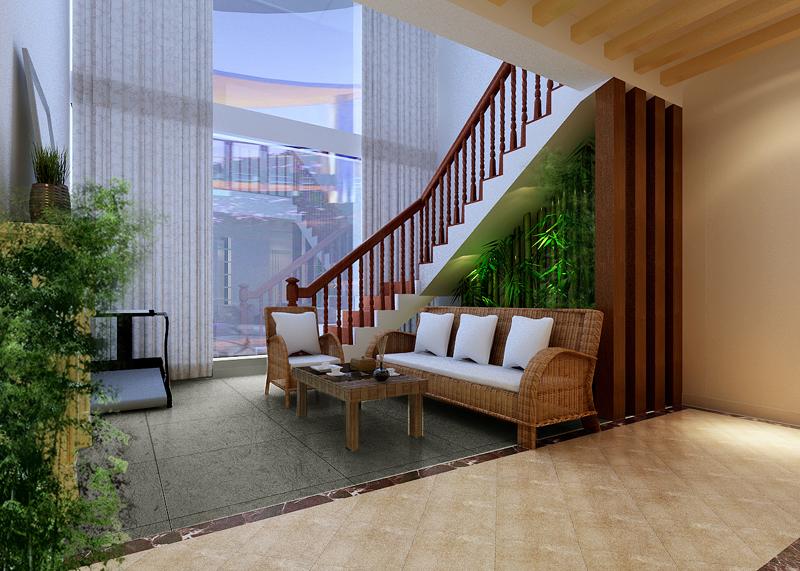挑高复式楼样板房 温情的入户阳光花园 - 装修效果图图片