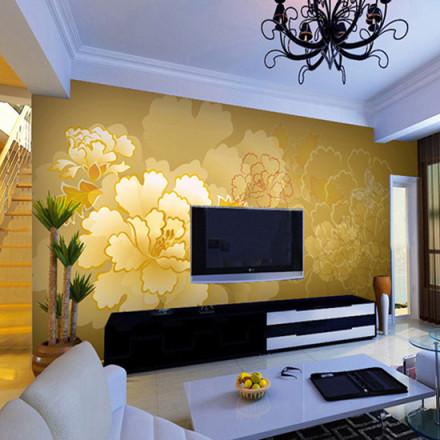 新中式花纹底色电视墙装装修效果图欣赏