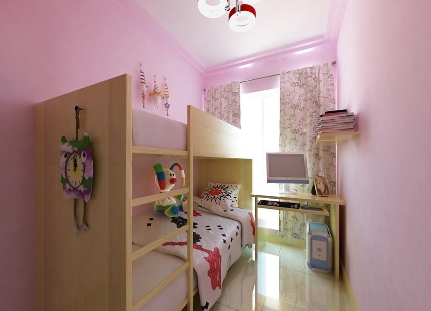 儿童房装修设计,粉色可爱软装搭配效果图