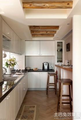 家庭l型厨房欧式橱柜装修效果.