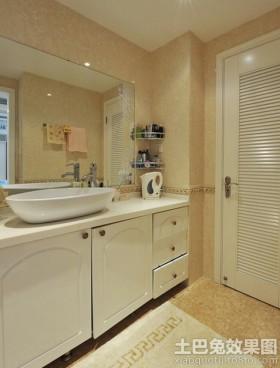 洗手间欧式实木浴室柜效果图