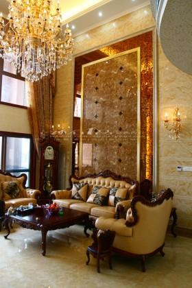 客厅沙发大理石背景墙装修效果.