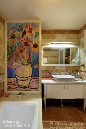 卫生间洗手台手绘瓷砖效果图