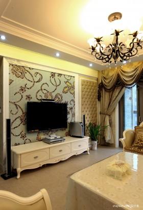 家装欧式客厅电视背景墙装效果图