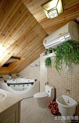 > 斜顶阁楼卫生间装修效果图图片