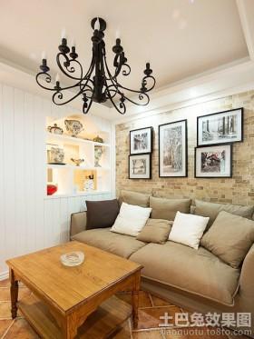 原木风格客厅沙发照片墙效果图