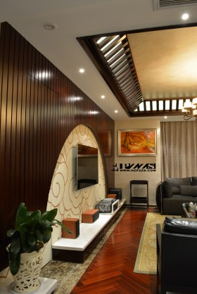 新中式风格客厅半圆形电视背景.