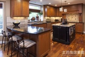 美式别墅大吧台式厨房装修效果图图片