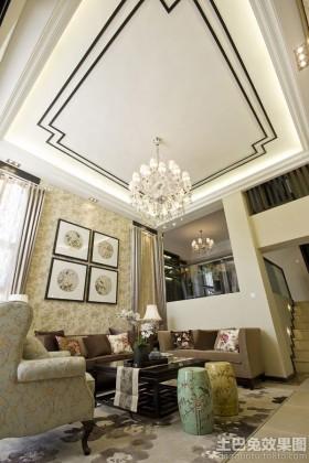 新中式风格挑高客厅吊顶装修设计